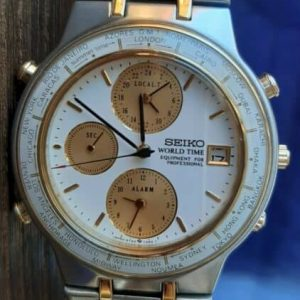 Seiko 5T52-7A00 R1 World Time Date Gold Silver Watch for Men Junk