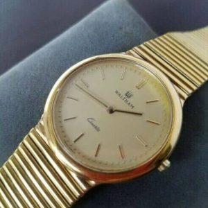Vintage Swiss 42370.28 Quartz Golden Waltham Watch for Men JUNK