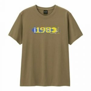 GU Men`s Pacman 1980 Game Graphic Olive T-Shirt From GU Japan Size: S